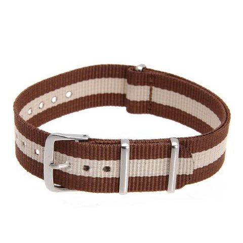 18mm Unisex Durable Canvas Watch Band Strap Buckle Brown + Beige Stripes Fashion