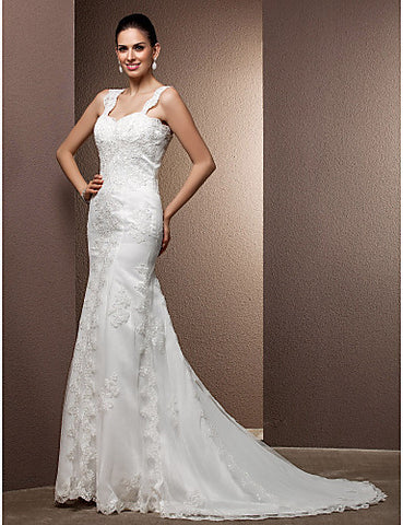 Trumpet/Mermaid Sweetheart Court Train Tulle And Lace Wedding Dress