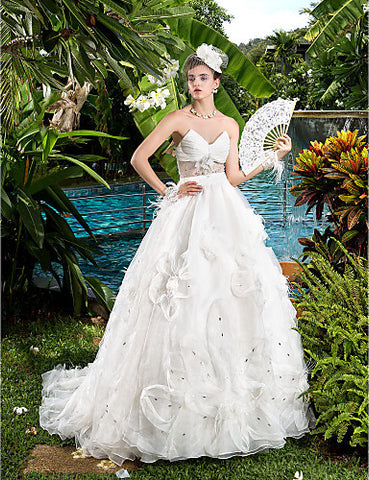 Ball Gown V-neck Organza Court Train Wedding Dresses