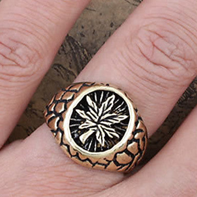 Men's Vintage Leaf Engraved Band Rings