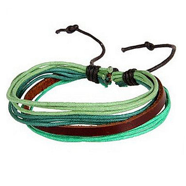 Fashion Weave Man-made 20cm Unisex Multicolor Leather Leather Bracelet(Coffee,Purple,Green)(1 Pc)