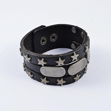 Fashion Men's Stainless Steel Rivet Black Wide Leather Bracelets