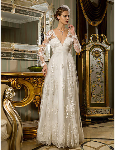 Wedding Dress Sheath Column Floor Length Ruched Tulle Lace V Neck With Illusion Sleeves and Appliques