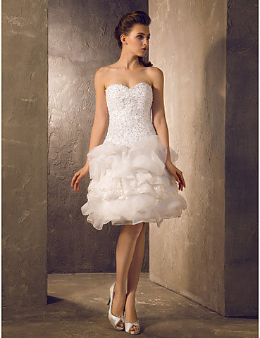 Wedding Dress A Line Knee Length Lace and Organza Sweetheart Little White Dress With Pick Up Skirt and Beading Appliques