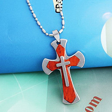 Fashion Crucifix Or Wing Black Leather Pendant Necklace (1 Pc)