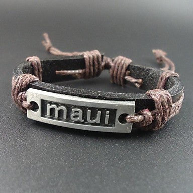 Fashion Vintage Maui Letter Charms Hemp Rope Women Men Leather Bracelet