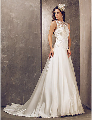 A-line Jewel Court Train Satin And Tulle Wedding Dress (632818)