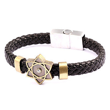 Punk Style Five Piont Flower Shape Alloy Leather Bracelet(1 Pc)