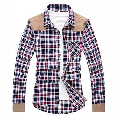 Men's New Spring Casual Cotton Plaid Britsh Style Fashion Long Sleeve Slim-fit Shirts