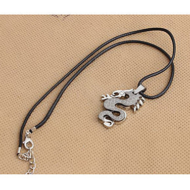 Fashion Dragon Black Leather Pendant Necklace (1 Pc)