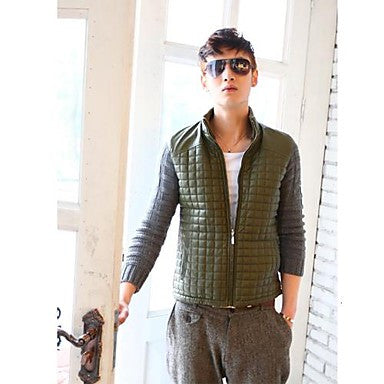 Men's Fashion Contrast Color Plaids Coat