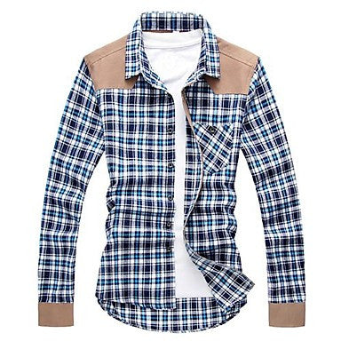 Men's Korean Slim Check Style Splice Long Sleeve Shirt