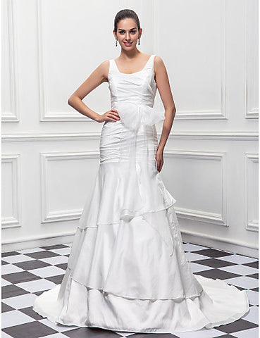 Trumpet/Mermaid Scoop Sweep/Brush Train Taffeta Wedding Dress (604647)