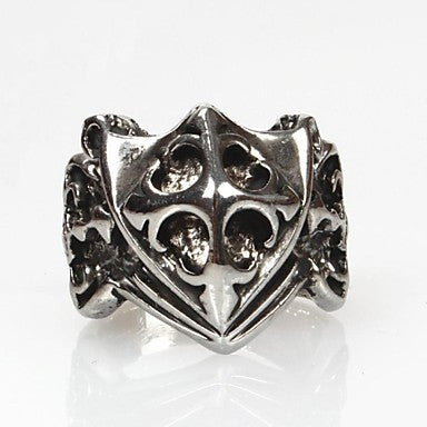 Vintage Punk Silver Alloy Shield Men's Statement Ring