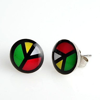 Round Mix Colors Peace Stainless Steel Stud Earrings