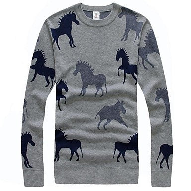 Men's Fashion Horse Pattern Knit Sweater