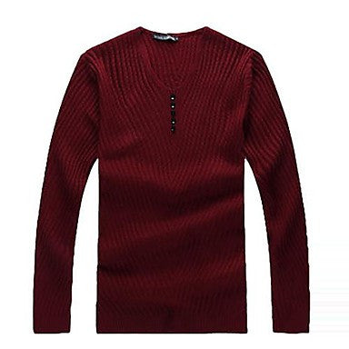 Men's V Neck Casual Slim Solid Color Sweater(More Colors)