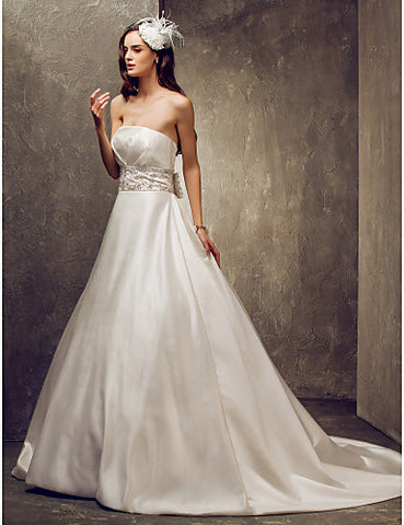 A-line Strapless Court Train Satin Wedding Dress (699601)