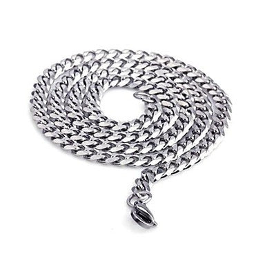Fashion Men¡®s Jewerlry Silver Titanium Steel Chain Necklace 55CM Length