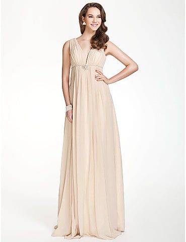 Bridesmaid Dress Floor Length Chiffon Over Elastic Satin A Line V Neck Party Dress