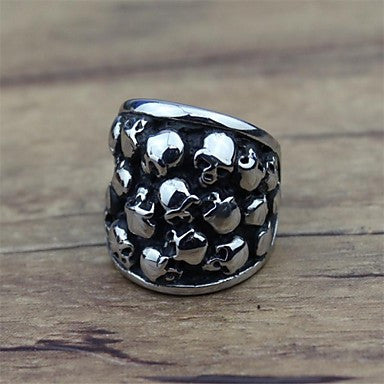 Fashion Stainless Steel Middle-Finger Skull Punk Men's Rings (1 Pc)
