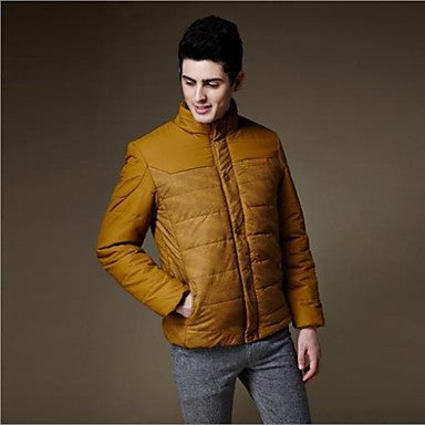 Men's New Winter Top Quality Warm Slim-fit Thicken Stand Collar Long Sleeve Casual Coat