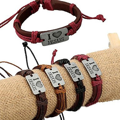 I Love Jesus Alloy Decorative Leather Bracelet