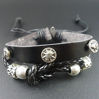 2015 New Fashion Punk Skull Skeleton Charms Men Genuine Leather Bracelet