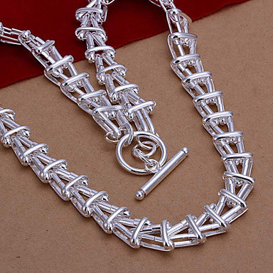 (1 Pc)European White Copper Chain Necklace