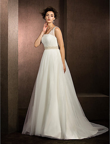 Ball Gown Straps Court Train Tulle Wedding Dress (1798939)