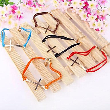 Fashion Cross Leather Cord Bracelet
