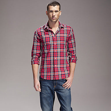 Men's Casual Check Long Sleeve Shirt