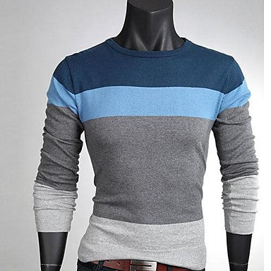 Men's Korean Style Slim Round Neck Sweaters