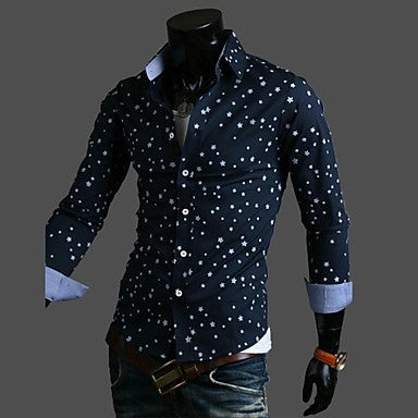 Men's Slim casual Contrast Color Long Sleeved Print Shirt