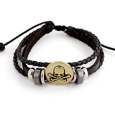 Punk Skull Pattern 16cm Unisex Black Leather With Gold Alloy Leather Bracelet(1 Pc)
