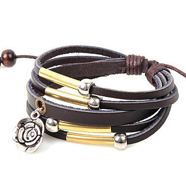 Fashion Rose 21cm Unisex Coffee Alloy Leather Bracelet(1 Pc)