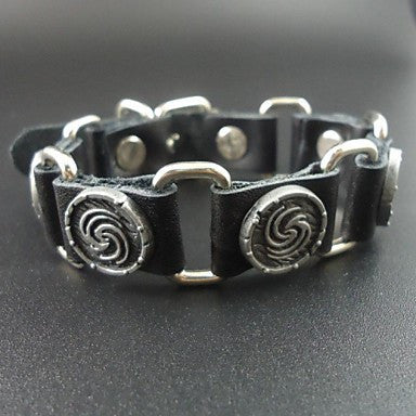 Cool Vintage Charms Genuine Leather Men Link Bracelet