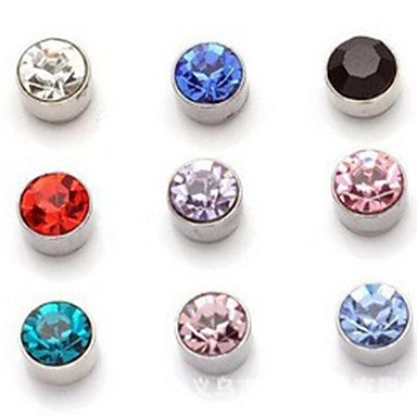 Men's Big Round Rhinestone Magnet Cilp Earrings(Random Color)