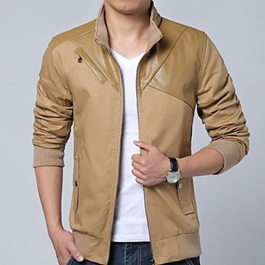 Men's Stand Collar Casual Long Sleeve Stitching Jacket