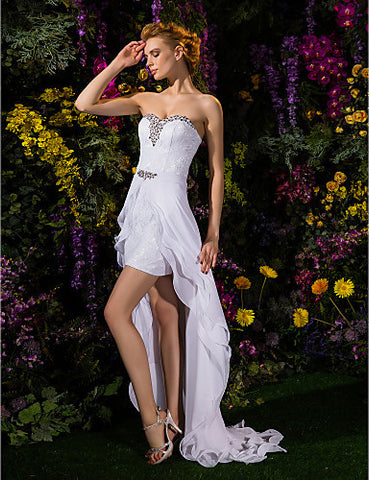 Sheath/Column Sweetheart Asymmetrical Chiffon And Lace Wedding Dress