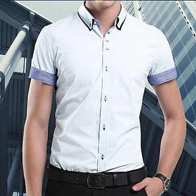 Men's Large Size Cuff Splicing Color Business Short Sleeve Shirt