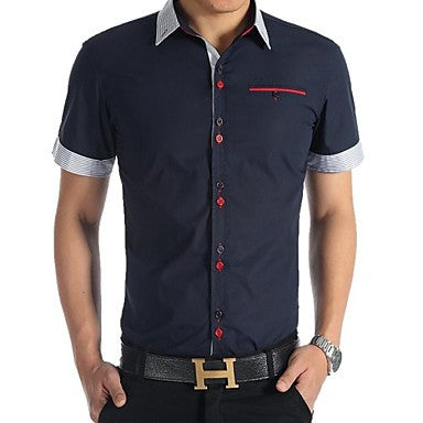 Men's Fashion Leisure Pure Color Contrast Color Button Short Sleeve Shirt