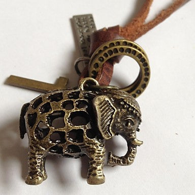 Fasion Elephant Leather Pendant Necklace with Adjustable cord(1pc)