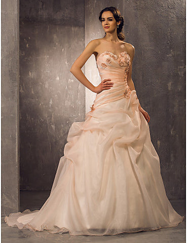 A-line Sweetheart Court Train Organza Wedding Dress(722156)