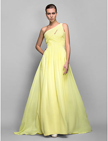 Sheath/Column One Shoulder Sweep/Brush Train Georgette Evening/Prom Dress