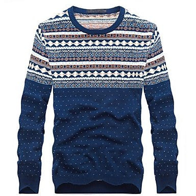 Men's Round Collar Snowflake Point Decoration Long Sleeve Sweater