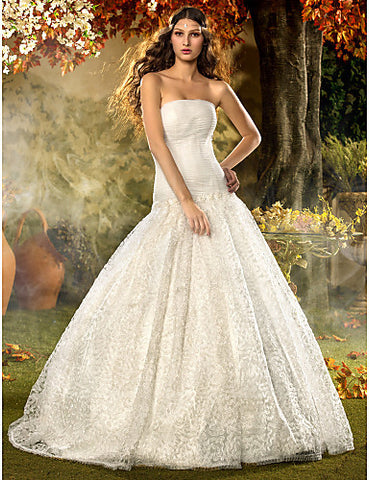 Fit and Flare Strapless Sweep/Brush Train Lace And Tulle Wedding Dress