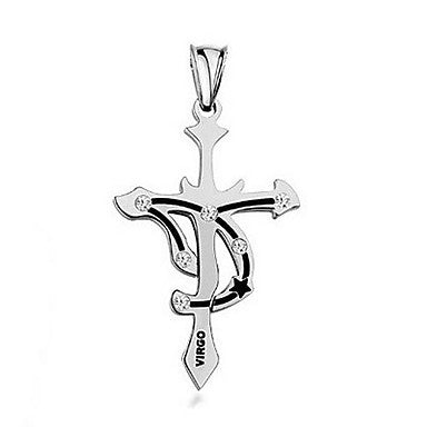 Fashion Stainless Steel Virgo Pendant Necklace