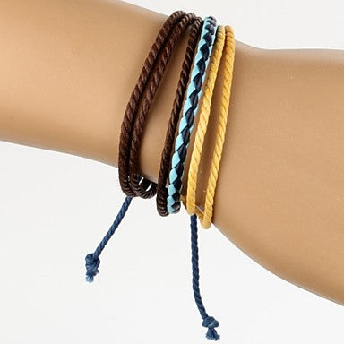 Adjustable Men's Leather Bracelet Very Cool Brown Yellow Rope Blue Leather (1 Piece)