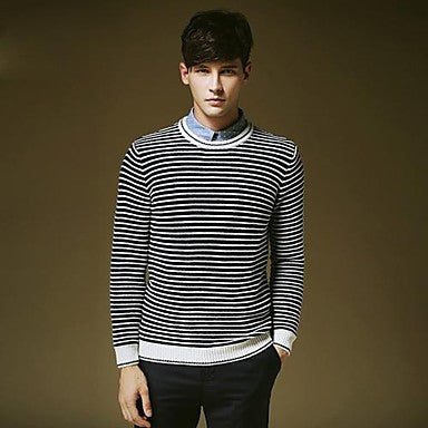 Men's Round Collar Stripes Long Sleeve Sweater Shirt